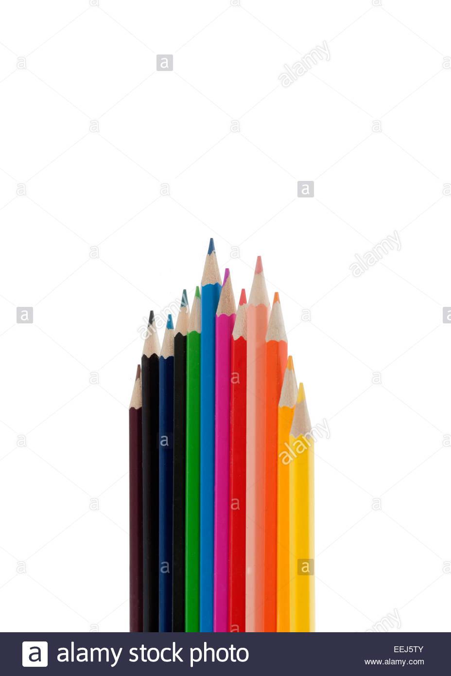 Färbung Bleistift ausgeschnitten. Stockbild