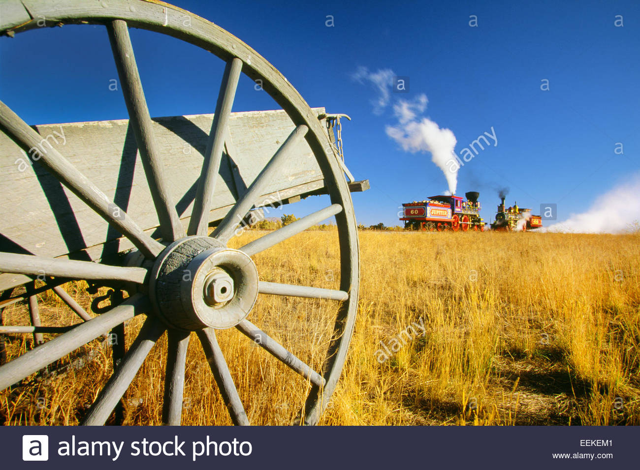 Lokomotiven, die für die Fertigstellung der transkontinentalen Eisenbahn am 10. Mai 1869, traf.  Golden Spike Stockbild