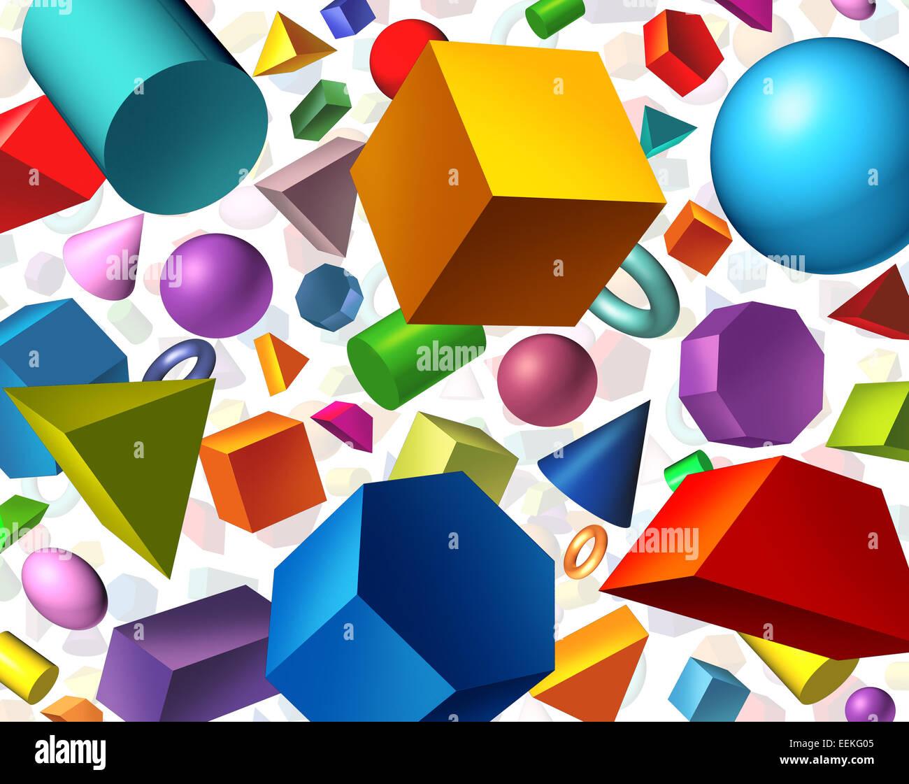 Geometrische Formen Hintergrund und Geometrie-Konzept als drei dimensionale Grundfiguren als Würfel Kugel Zylinder Stockbild