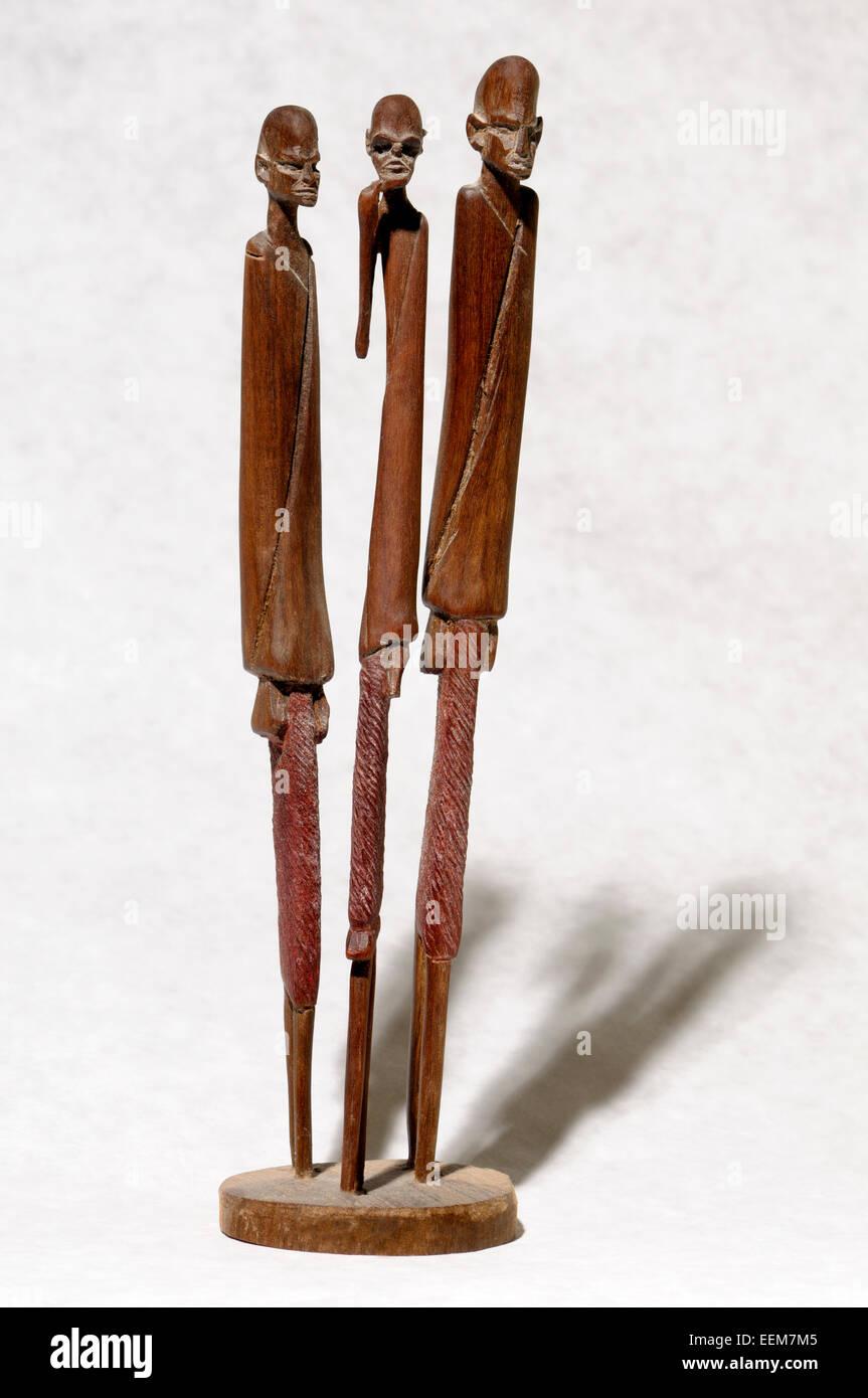 African geschnitzte Holzfiguren - (Kenia: 1990er Jahre) Stockfoto