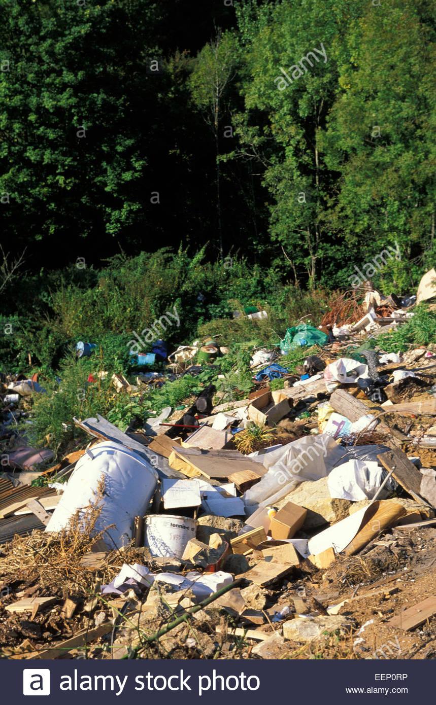 Mülldeponie im Wald, Elsass, Frankreich. Stockbild