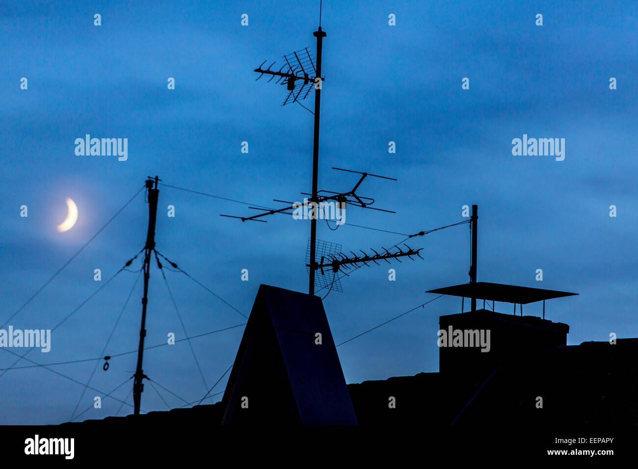 Antennen für Ihren Fernseher, TV-Empfang, terrestrische Stockbild