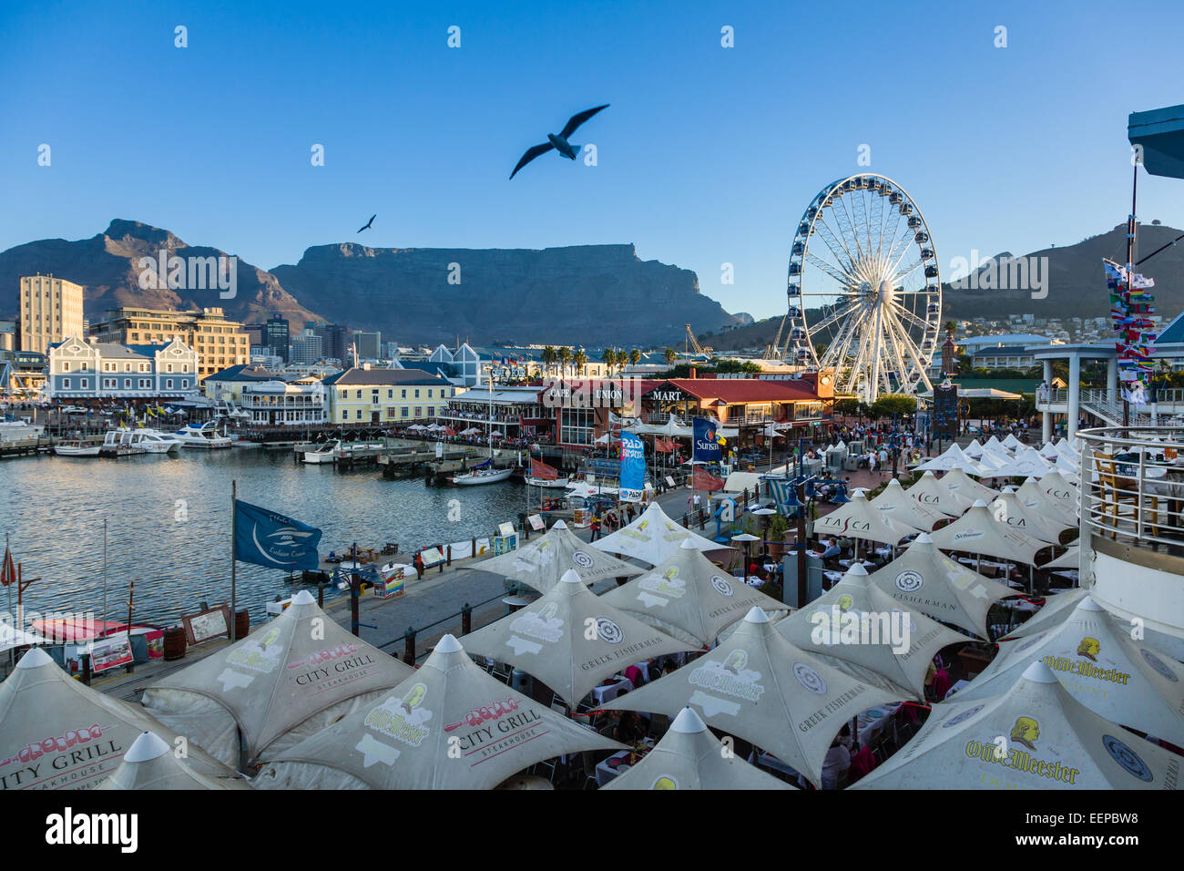 V & A Waterfront in Kapstadt Südafrika. Stockbild