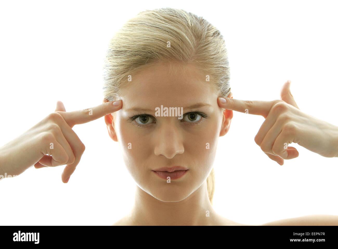 Junge blonde Frau Hat Eine Idee, Frau hat eine Idee, schön, blond, fröhlich, Vertrauen, Zufriedenheit, Stockbild