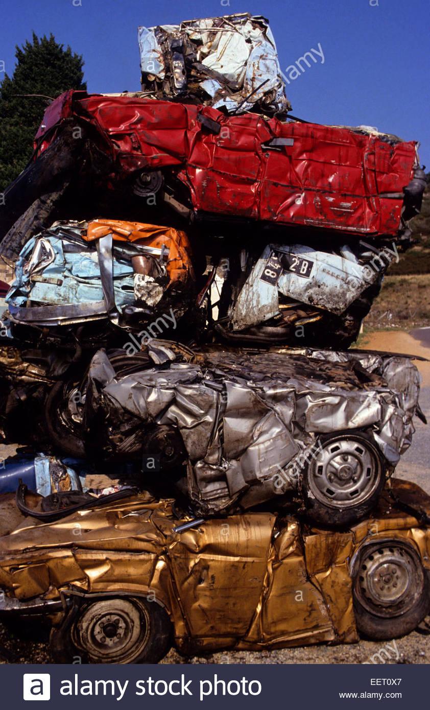 Auto-recycling dump Frankreich Stockbild