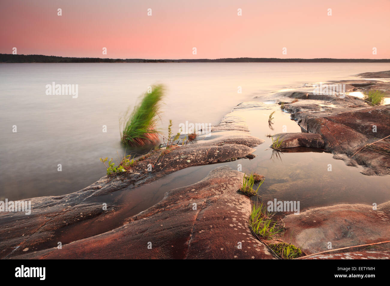 Sommer Landschaft auf der Insel Brattholmen in den See Vansjø, Råde Kommune, Østfold Fylke, Norwegen. Stockbild