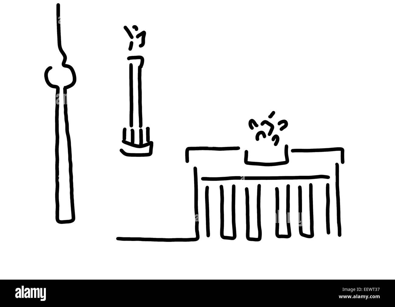 Berliner Tor TV Turm Siegessäule Stockfoto, Bild: 78014363 - Alamy