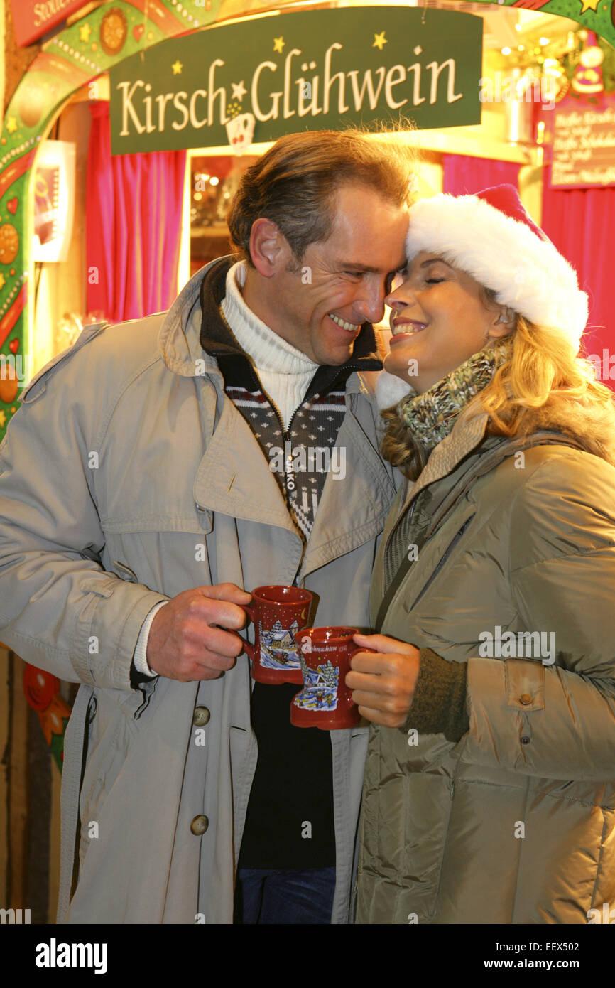 Weihnachtsmarkt, Paar, Glühwein, Trinken, Christkindlmarkt ...