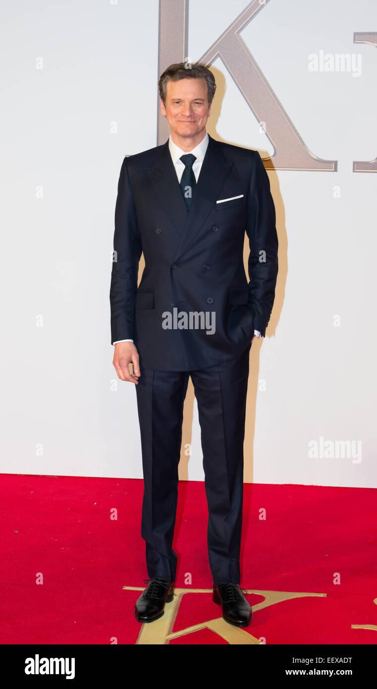 """Schauspieler Colin Firth besucht die Weltpremiere von """"Kingsman: The Secret Service"""" im Odeon Leicester Stockbild"""