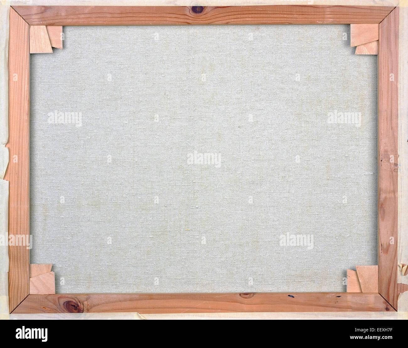Weiße Leinwand auf Holzrahmen Rückseite Blick Kiefer Stockfoto, Bild ...