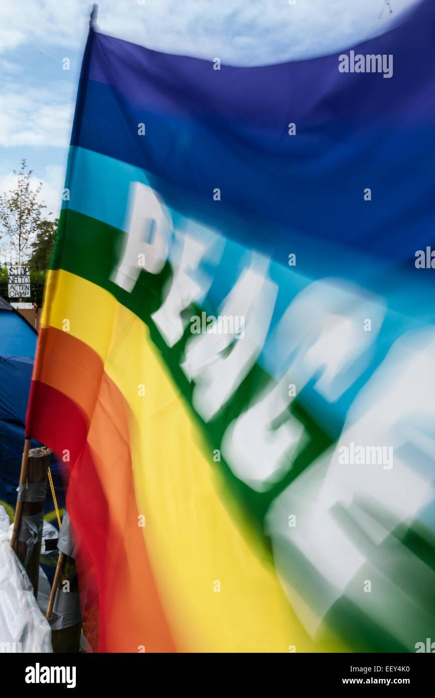 Ein Frieden Flagge im Wind wehen. Stockbild