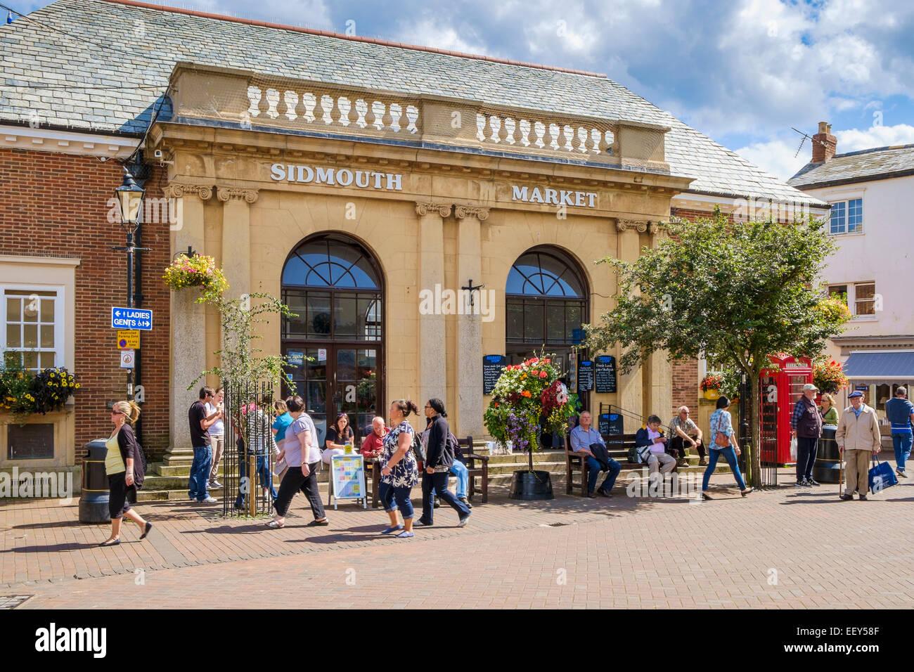 Markthalle in Sidmouth, East Devon, England, UK im Sommer Stockbild