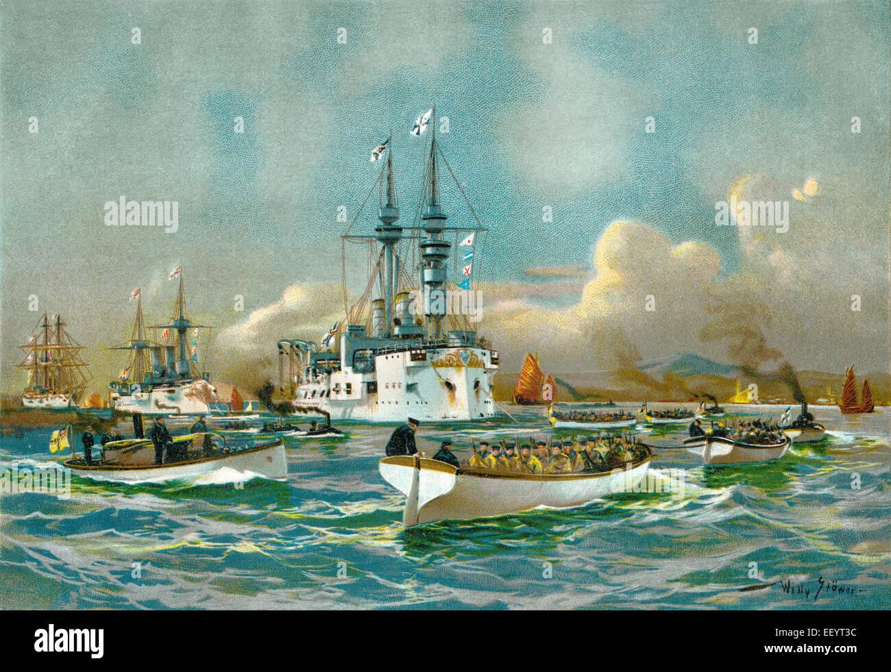 Die Besetzung von Kiautschou in China von den deutschen Truppen, 1897, historische Gemälde von Willy Stoewer Stockbild