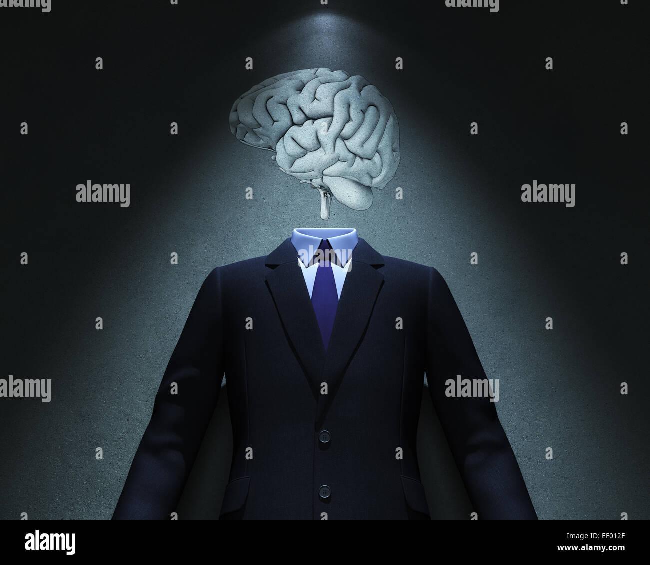 Gehirn und Anzug an Stelle des Lichts Stockbild