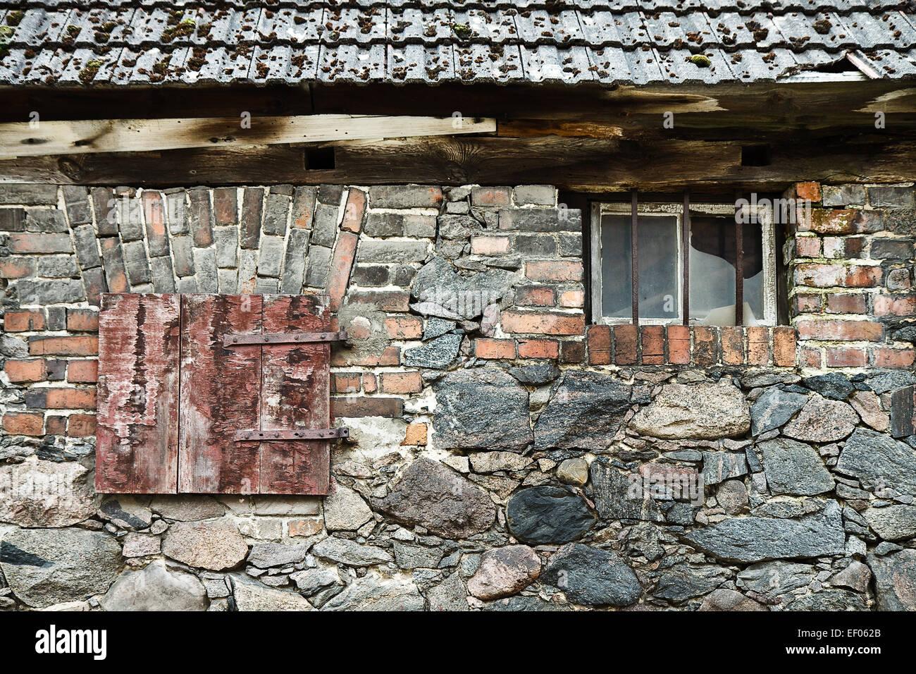 Detail eines alten Hauses. Stockbild