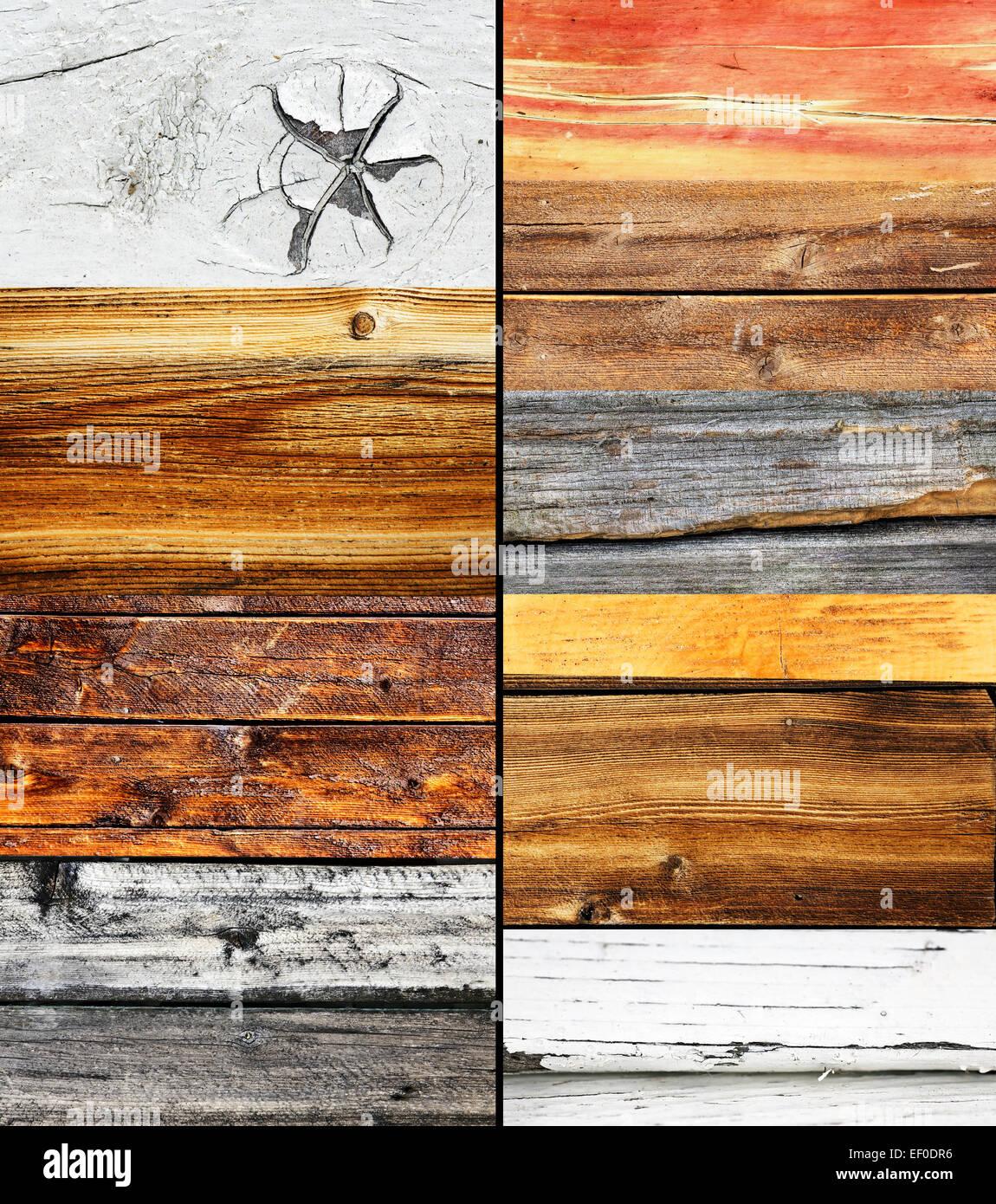 holz-collage, verschiedene farben und textur, natur hintergrund