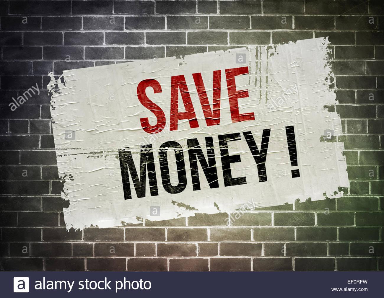 Sparen Sie Geld-Plakat-Konzept Stockbild