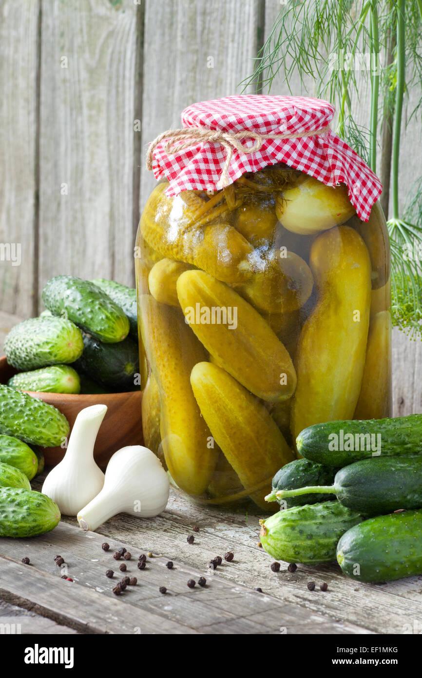 Frische und eingelegte Gurken, hausgemachte Gemüse erhalten Stockbild