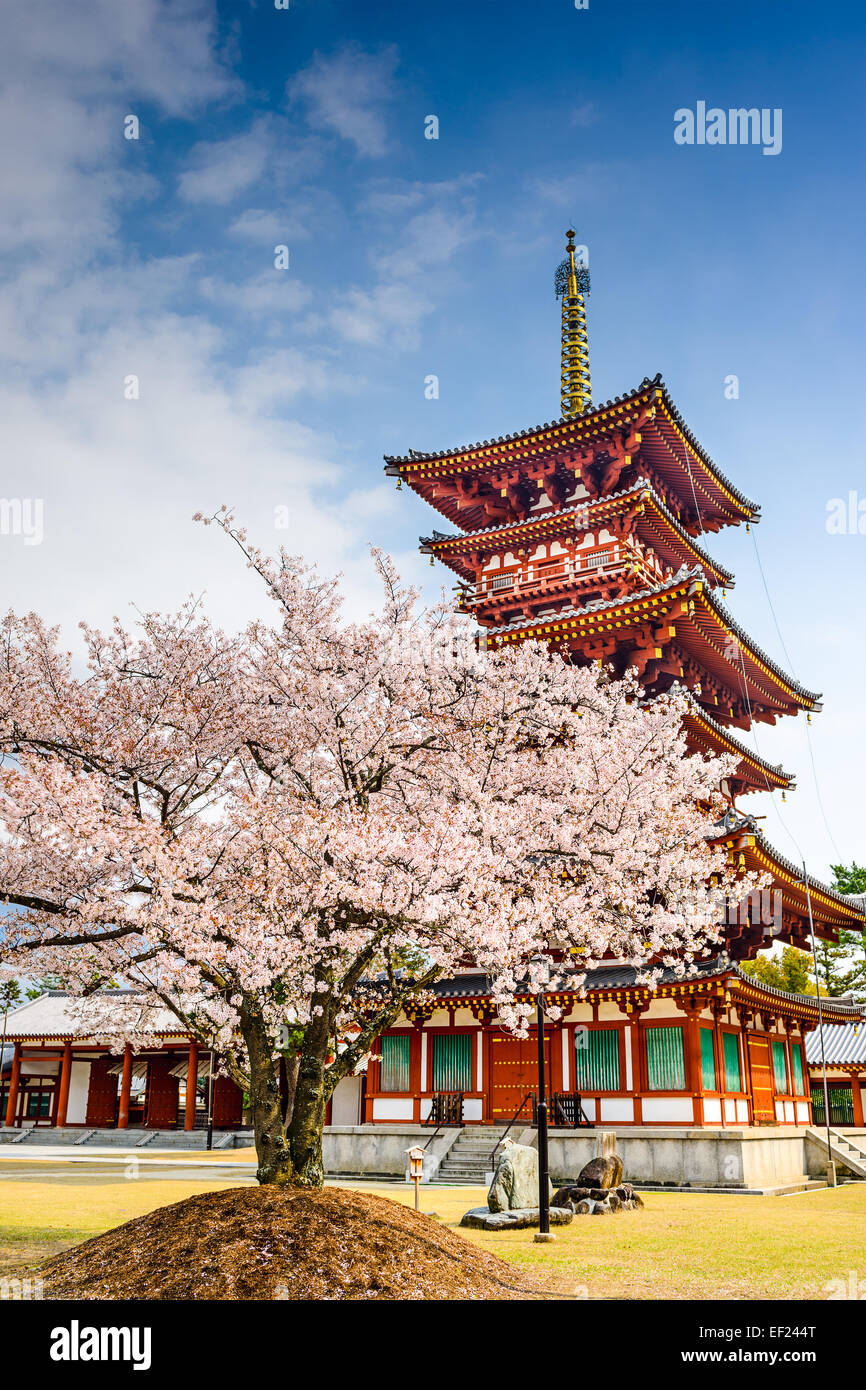 Nara, Japan die Pagode der Yakushi-Ji-Tempel. Stockbild