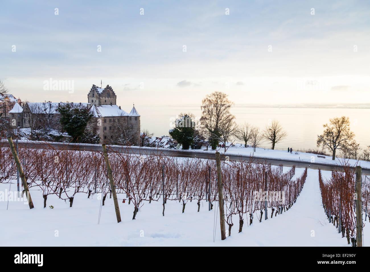 Burg Meersburg, Bodensee im Hintergrund Stockbild