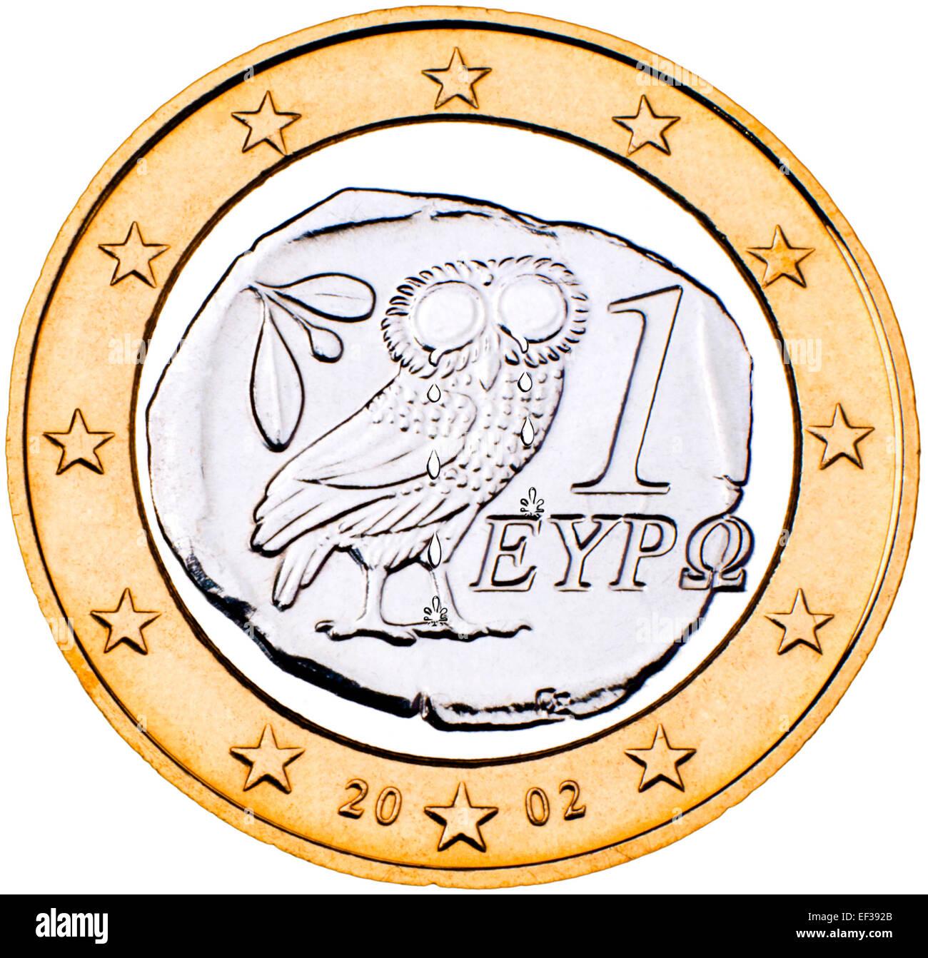 Griechischen 1 Euro Münze Rückwärts Mit Der Eule Schreien