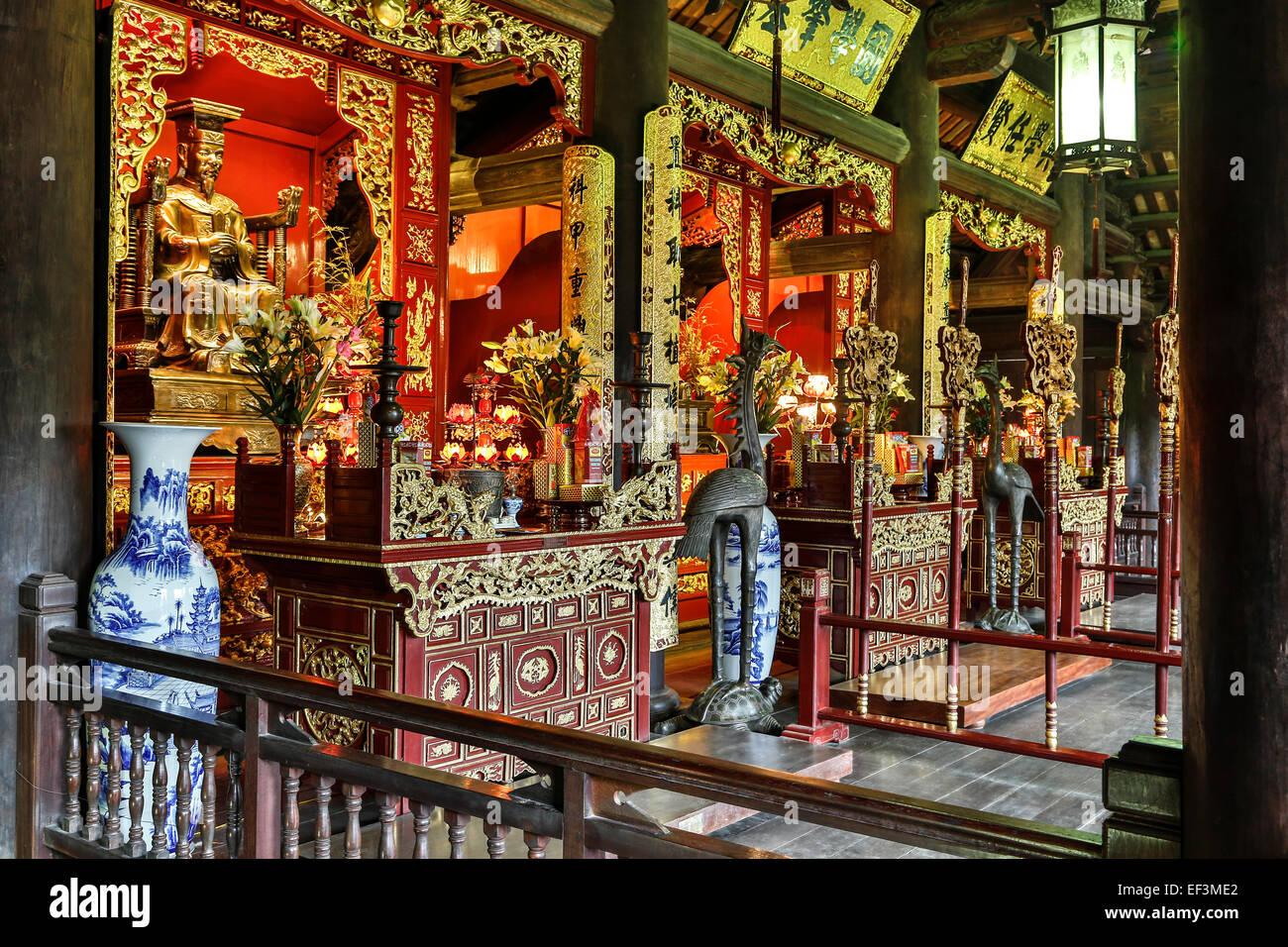 Halle widmet sich drei einflussreichen Herrscher in der Geschichte der kaiserlichen Akademie, Temple of Literature, Stockbild