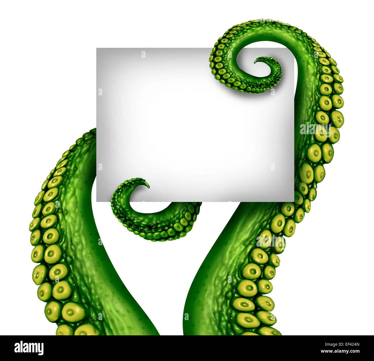 Alien leere Schild mit gruseligen grünen ufo Tentakelarme hält eine weiße Fahne mit textfreiraum Stockbild