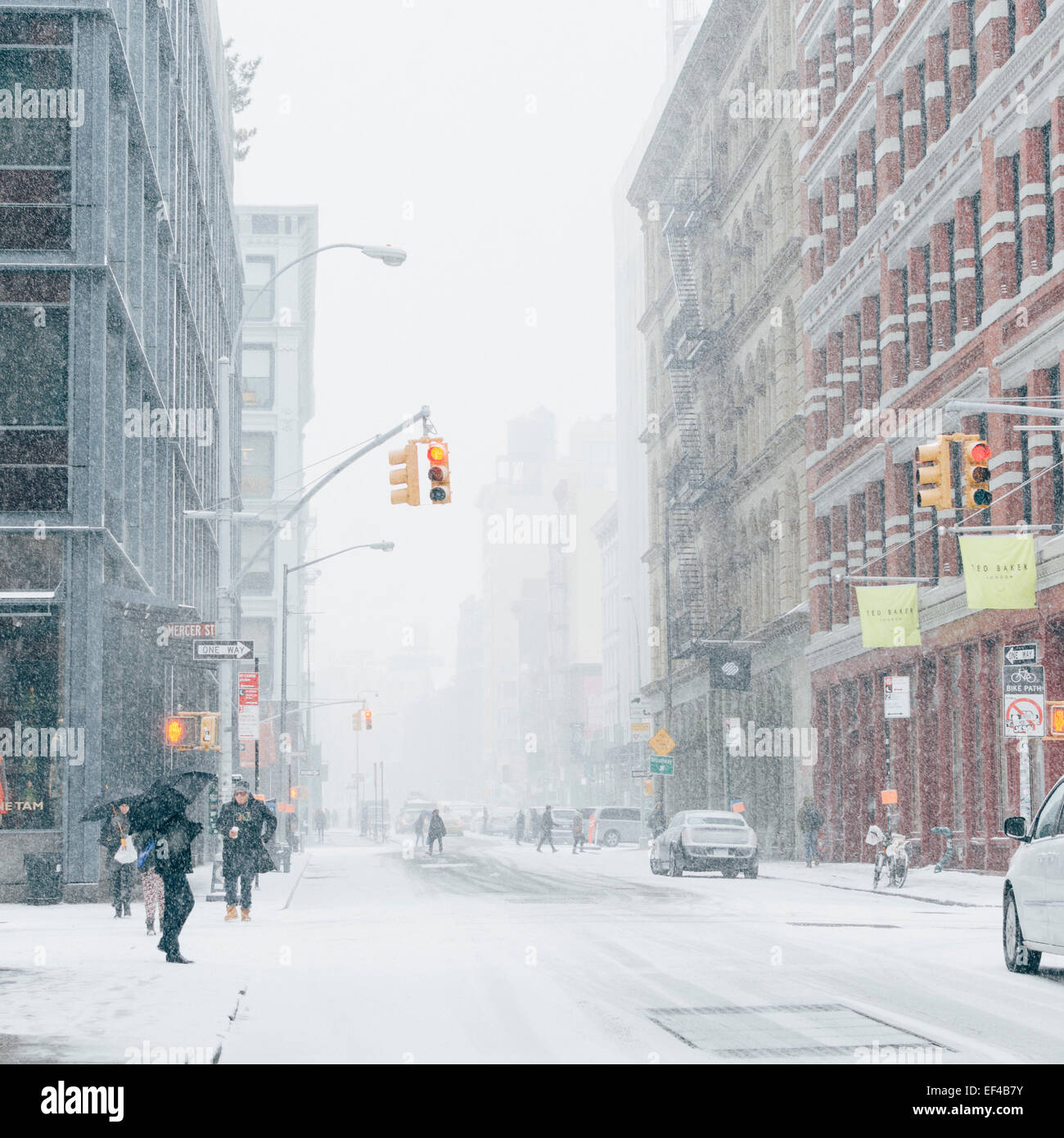 Krähte Soho Straße. New York, USA. 26. Januar 2015. Winter Sturm Juno: Blizzard in New York City. Bildnachweis: Stockfoto