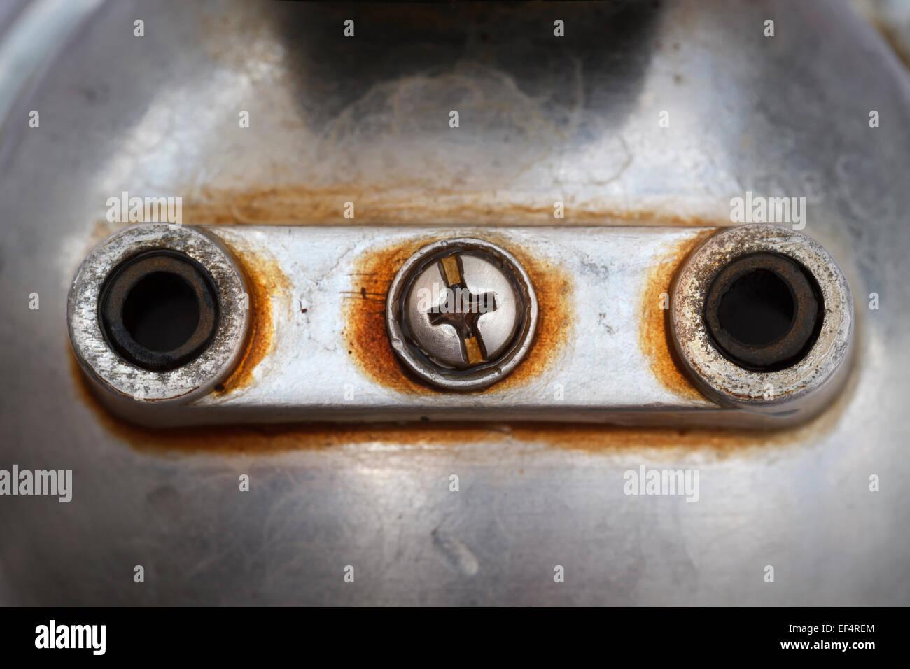 unter Metall Kaffeemaschine; Nahaufnahmen Makro erschossen; Stockbild