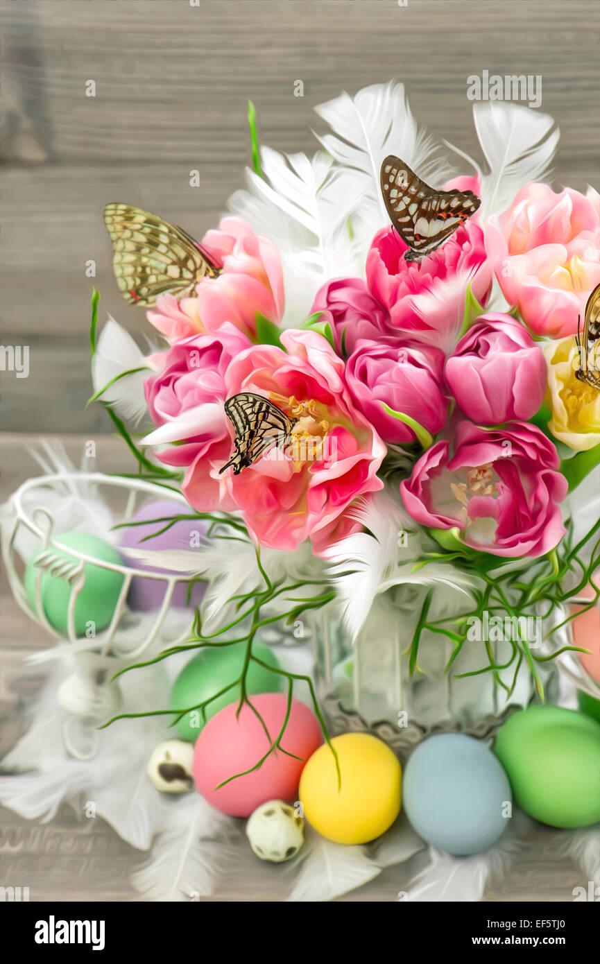 Rosa Tulpe Blumen Schmetterlinge Und Bunte Ostereier Bild Mit