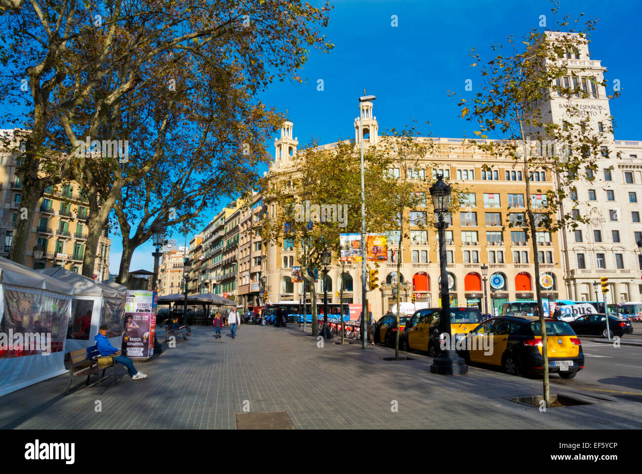 Platz Placa de Catalunya, Katalonien, Barcelona, Spanien Stockbild