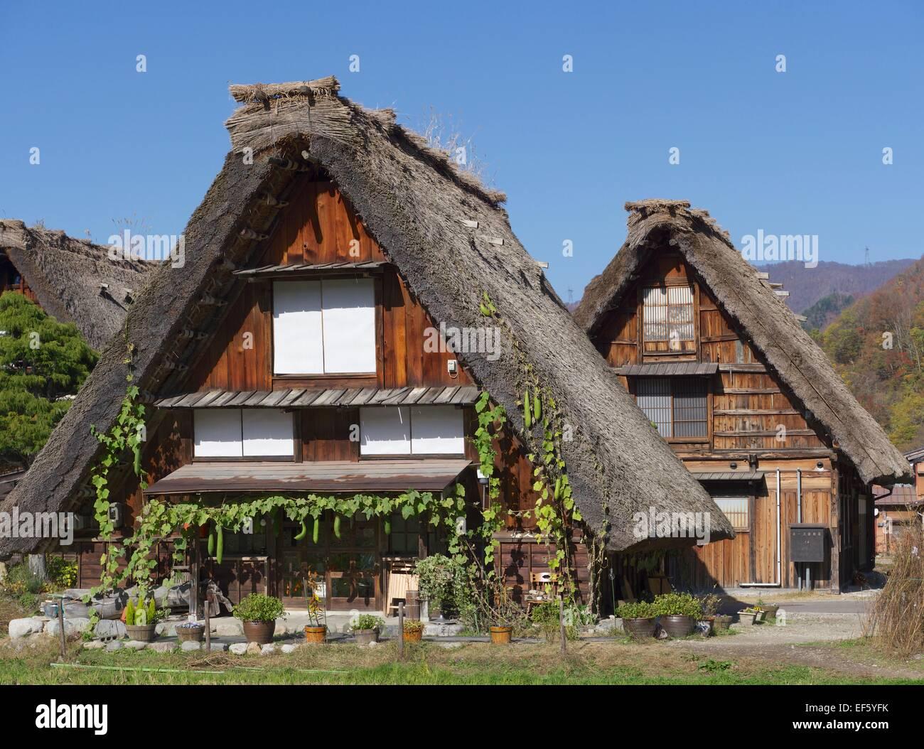 Strohgedeckten Häuser in Shirakawago in Japan Stockfoto, Bild ...