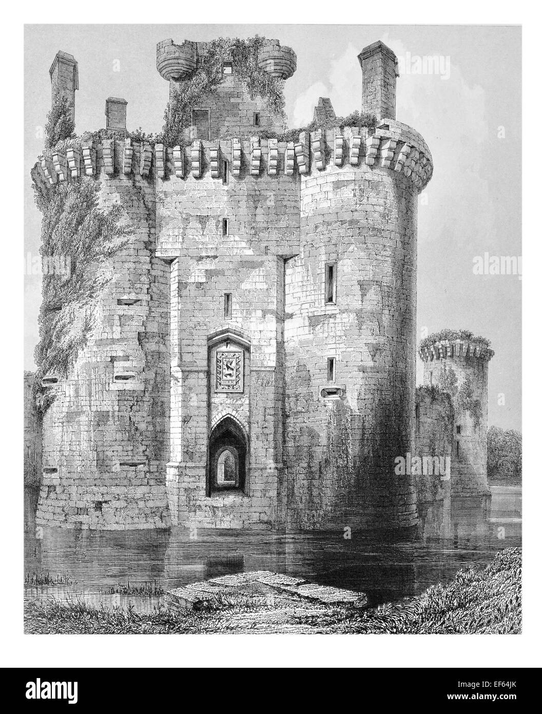 1852 Caerlaveroc sogar dreieckigen Burg Dumfries Eingang Tor und Flanking Turm Stockbild