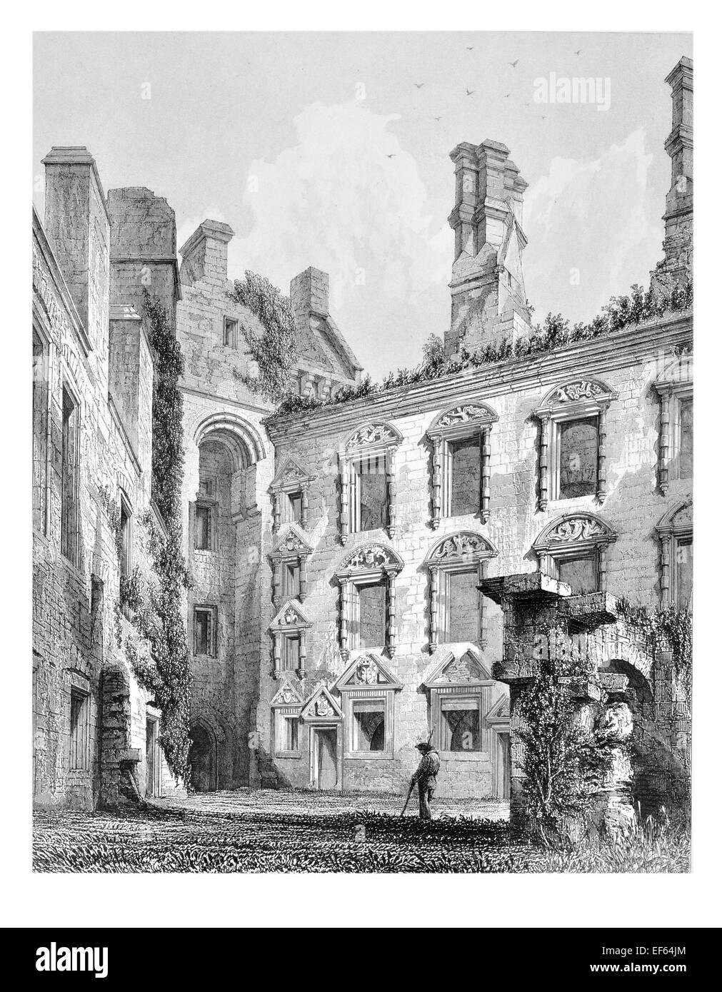 1852 Caerlaveroc sogar dreieckigen Burghof Dumfries Stockbild