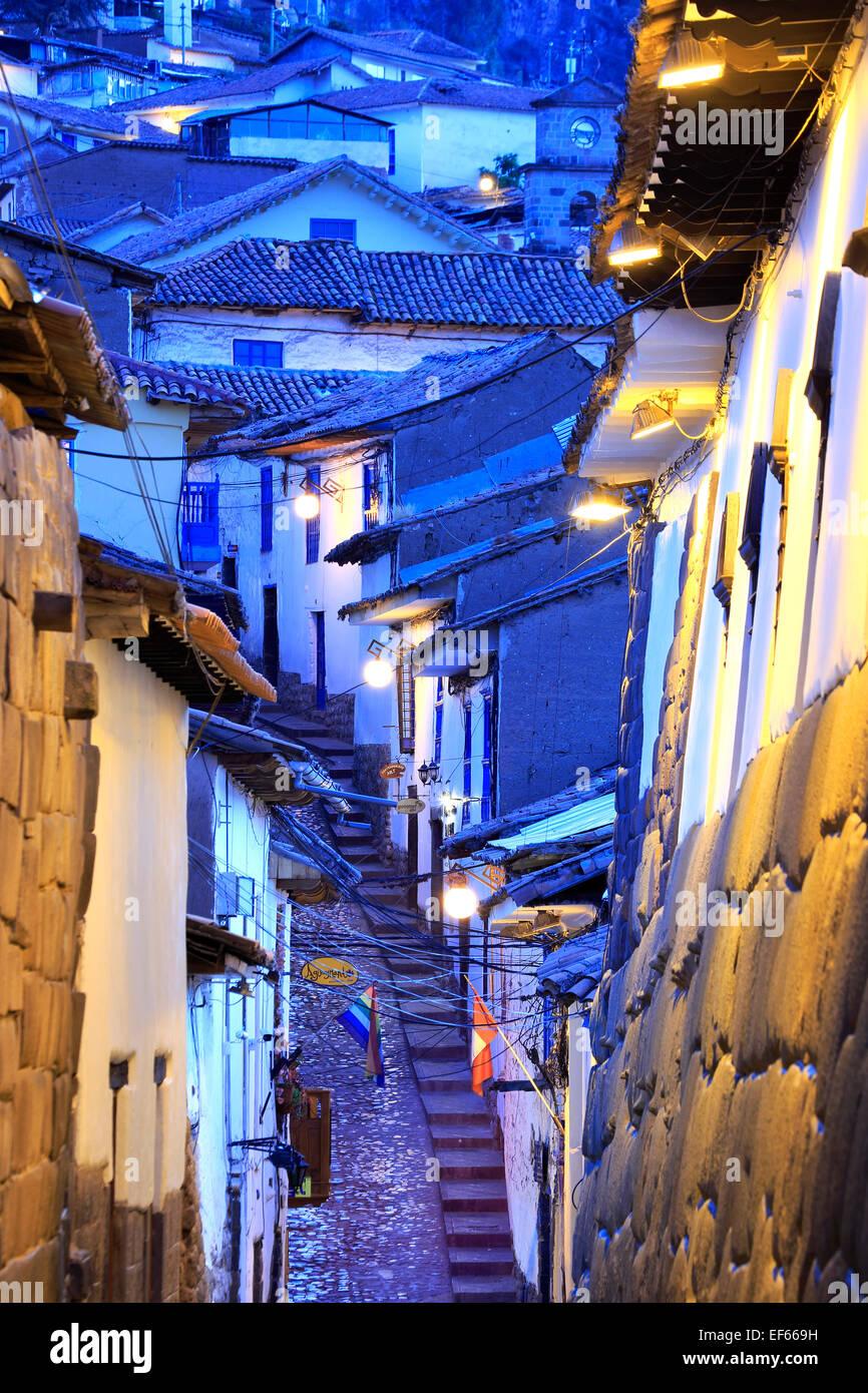 Dächer und Treppen, Cuesta San Blas (San Blas Hügel), San Blas Nachbarschaft, Cusco, Peru Stockbild