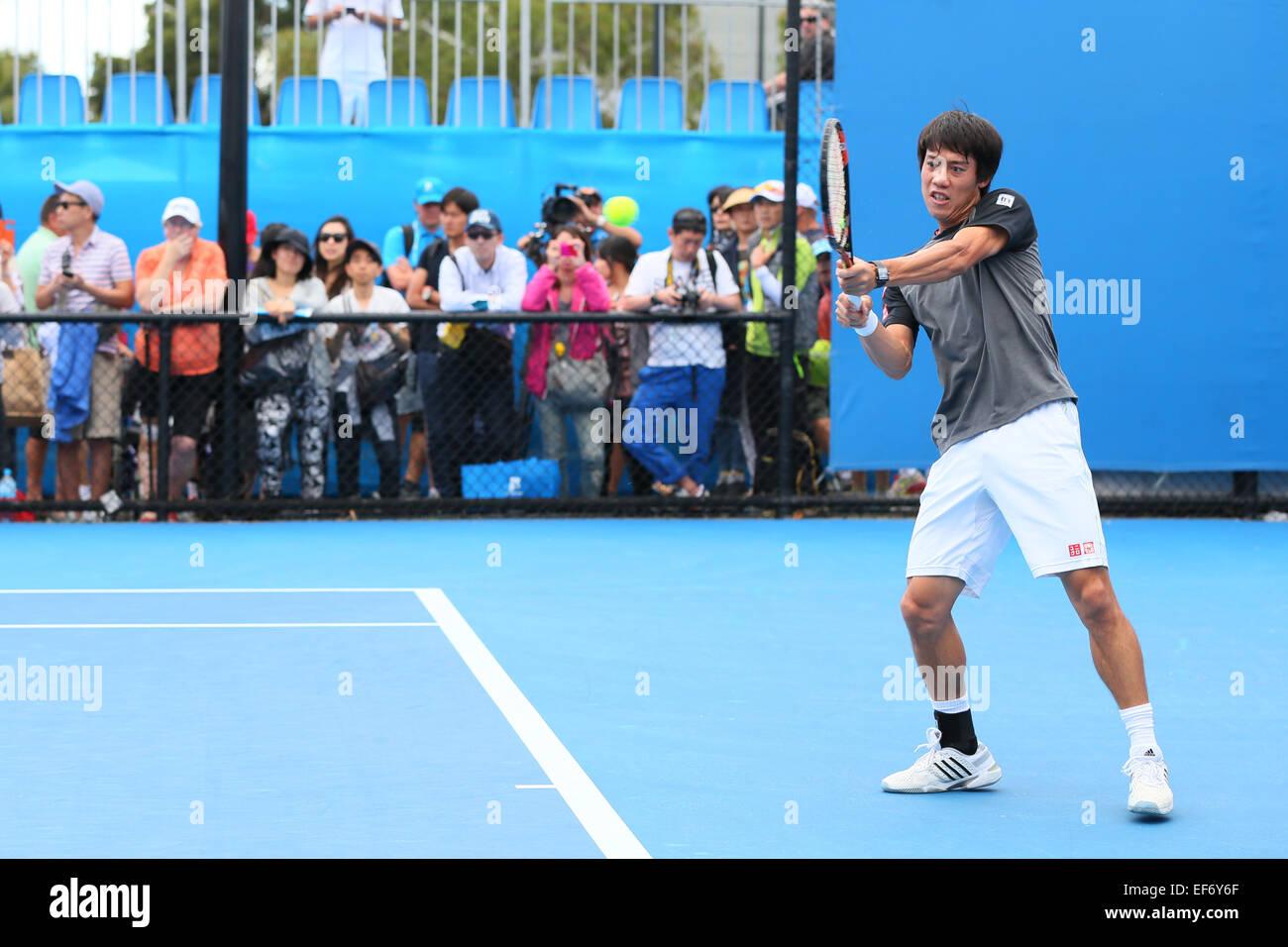 Melbourne, Australien. 28. Januar 2015. Kei Nishikori (JPN) Tennis: Australian Open Tennisturnier 2015 Training Stockfoto