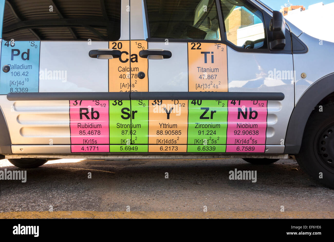 Mendelejews Periodensystem der Elemente auf der Seite ein Auto das Maryland Science Center in Baltimore MD. Stockbild