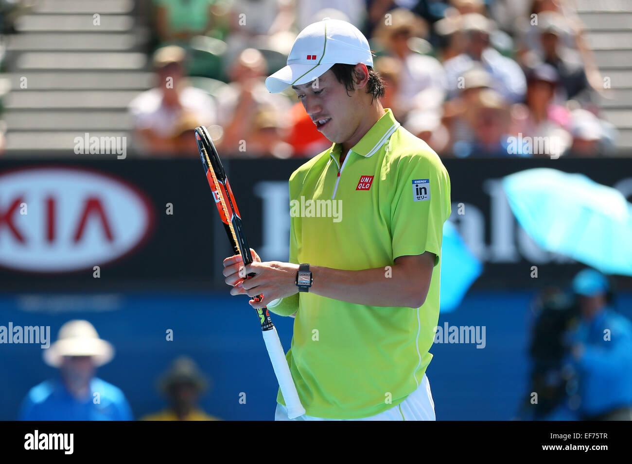 Melbourne, Australien. 28. Januar 2015. Kei Nishikori (JPN) Tennis: 2015 Australian Open Tennis Turnier Herren Viertelfinale Stockfoto