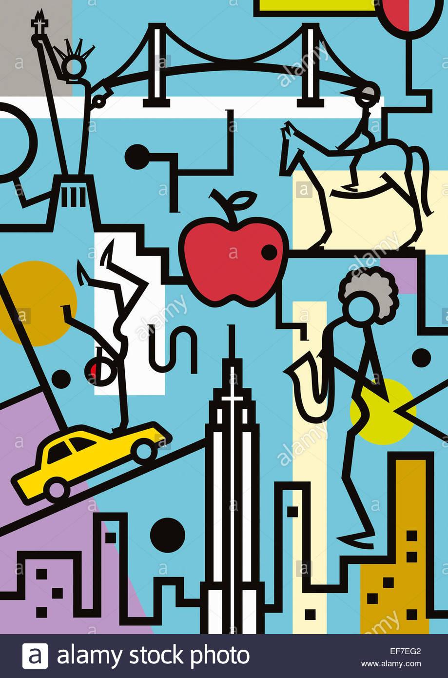 Montage von New York Tourismus und Kultur Stockbild