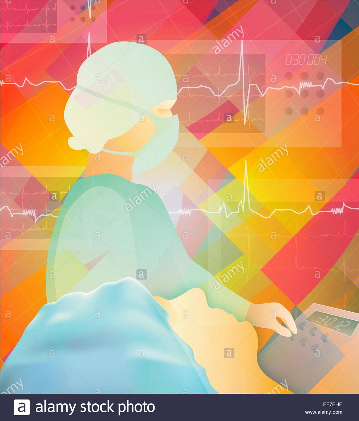 Chirurg Überwachungsergebnisse medizinische Geräte für Patienten auf dem OP-Tisch Stockbild