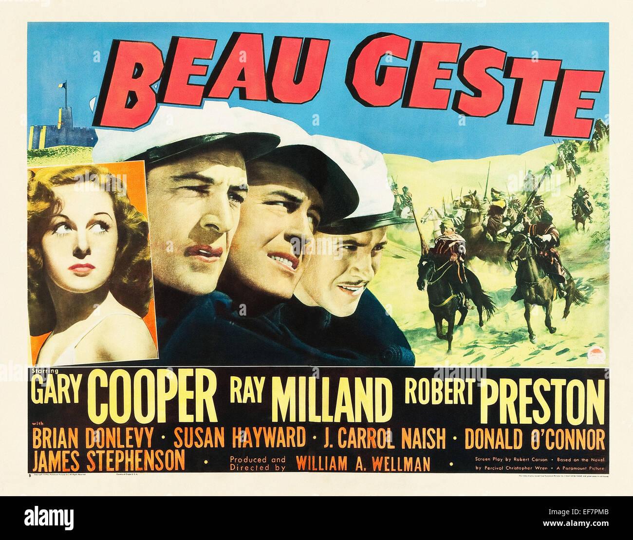 Beau Geste - Gary Copper - Filmplakat Stockbild
