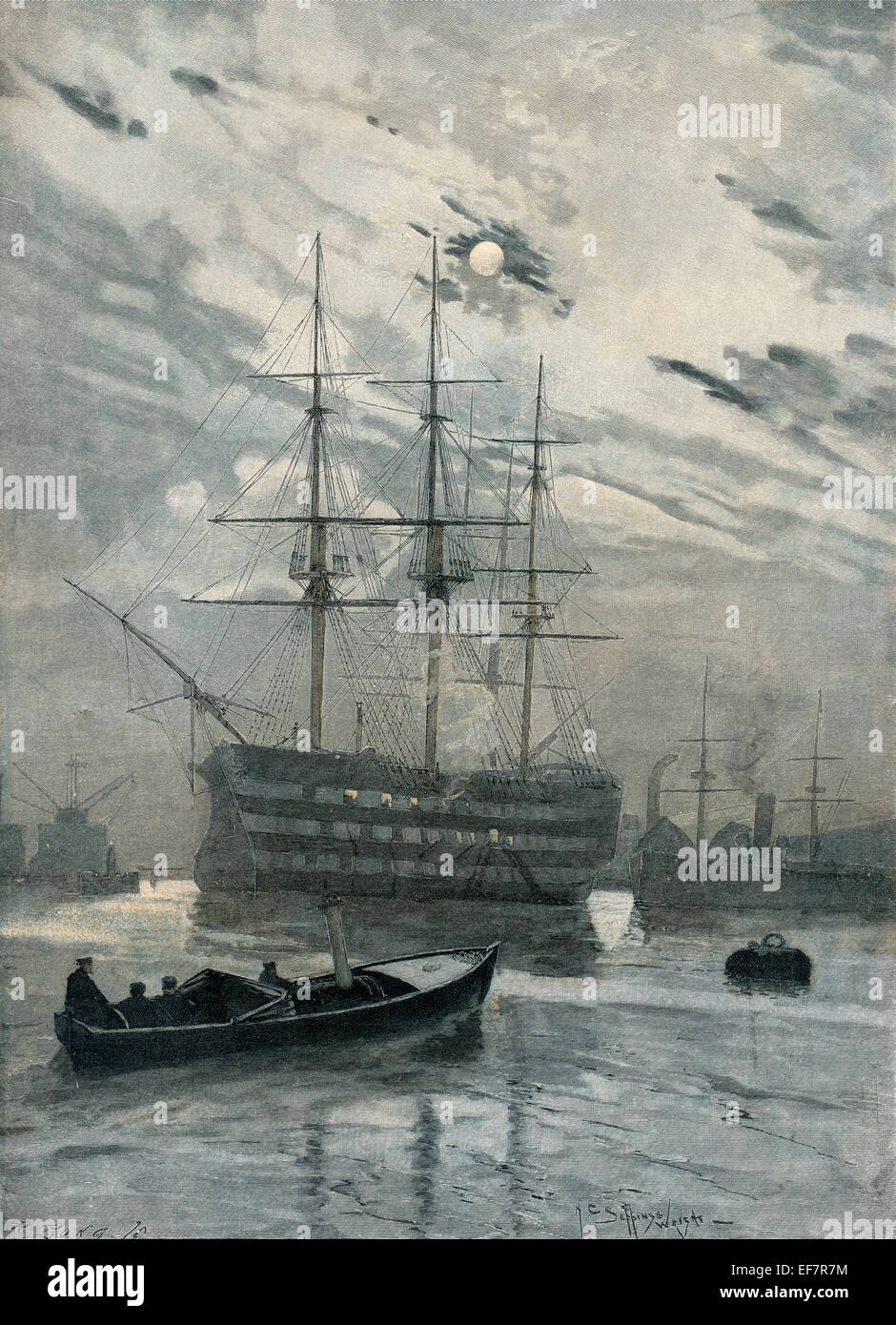Alte englische Segelschiff, Holzschnitt von Seppings Whright Stockbild