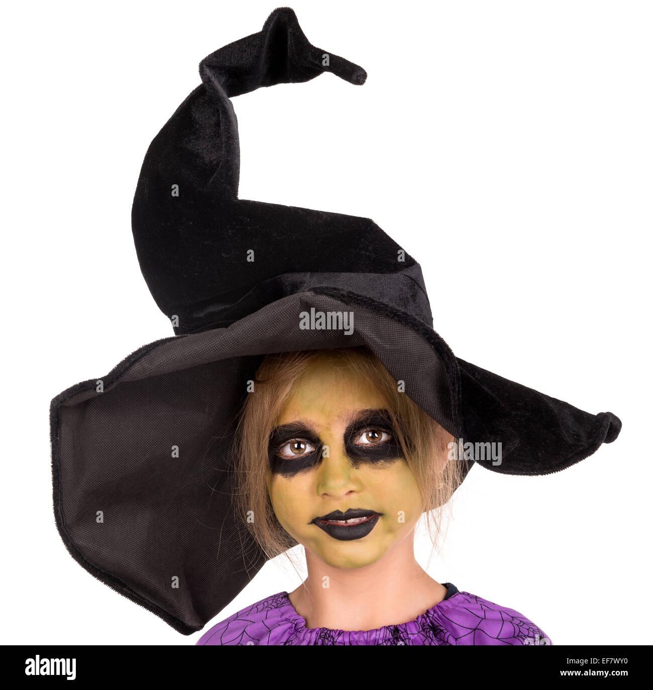 Halloween Gesichter Hexe.Madchen Mit Gesicht Malen Und Halloween Hexe Kostum Isoliert In Weiss Stockfotografie Alamy
