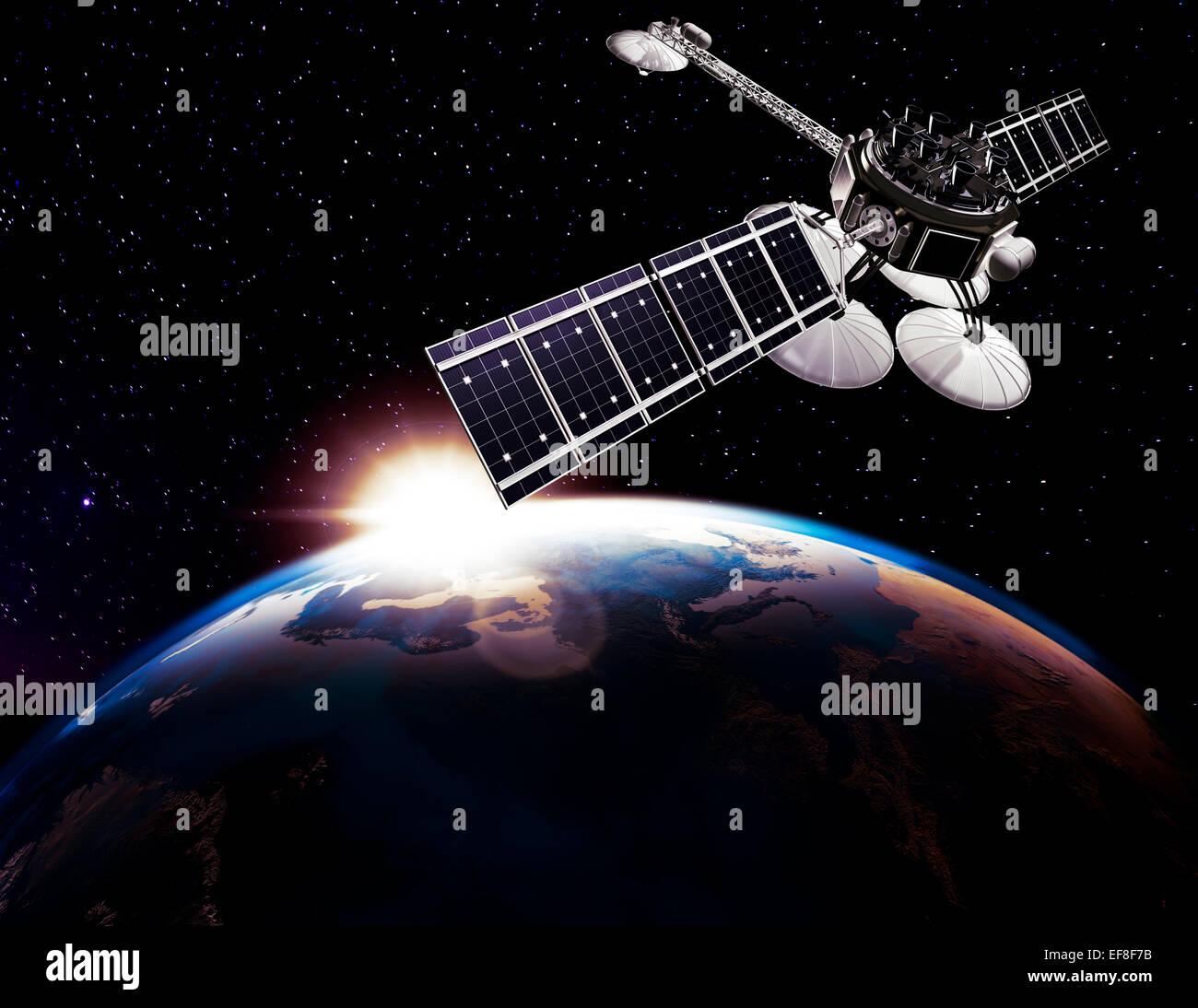 Kommunikationssatellit, Comsat über Erdkugel auf schwarzen Sternenhimmel Hintergrund durch die aufgehende Sonne Stockbild