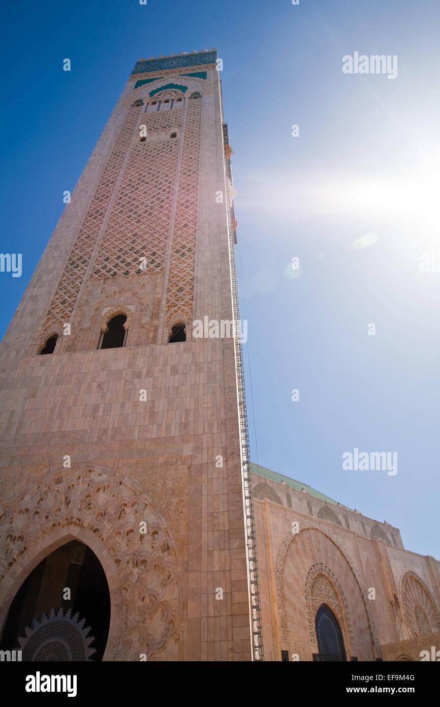 Turm der Hassan II Moschee in Casablanca Stockbild