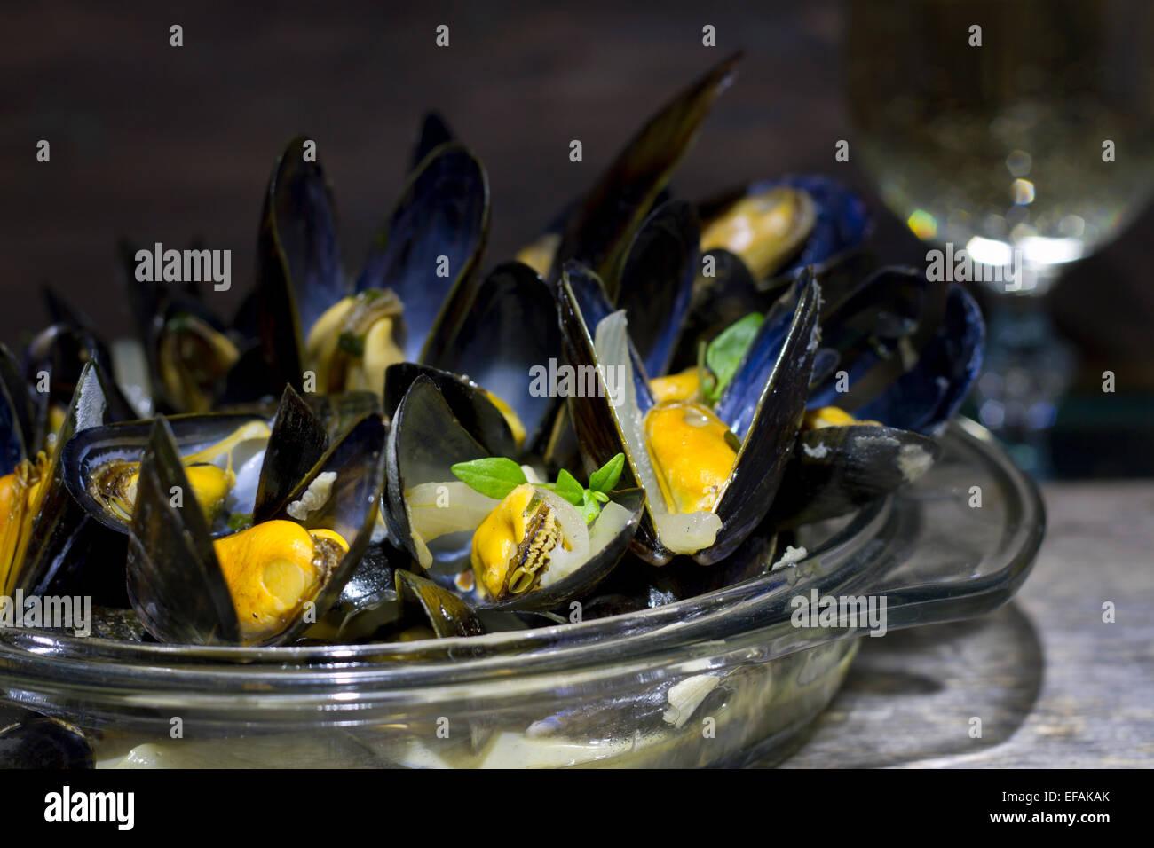 Muscheln mit Glas Weißwein und Thymian in der Dunkelheit Stockbild