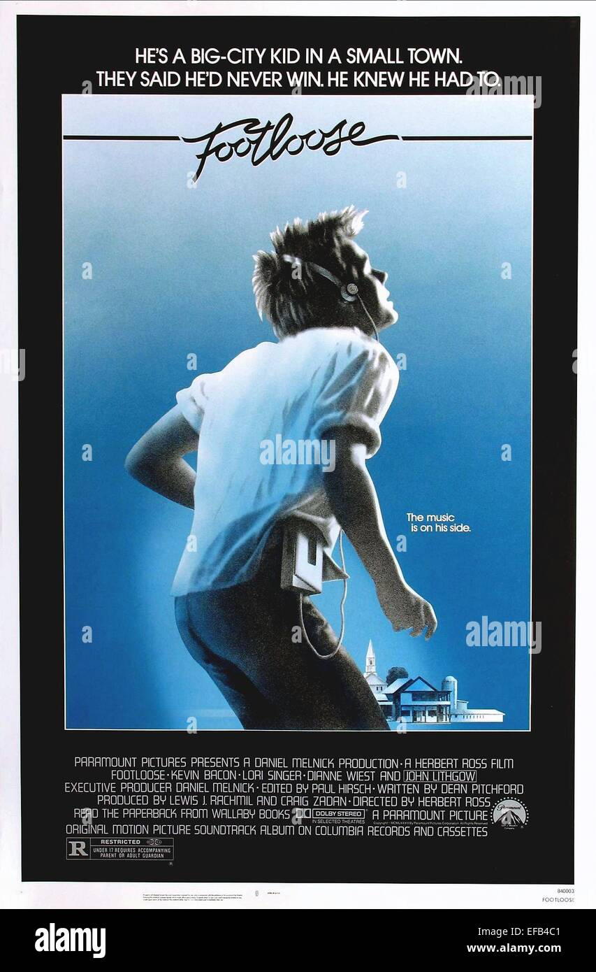 Kevin Bacon Poster Footloose 1984 Stockfoto Bild 78306257 Alamy