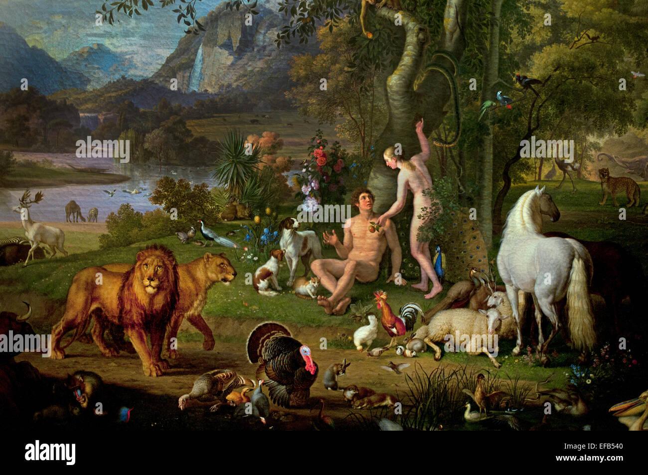 Toll Adam Und Eva Im Garten Eden Paradies Von Wenzel Peter [österreichische  Maler 1745 1829] Pinacoteca Vatican Museum Rom Italien (Detail)