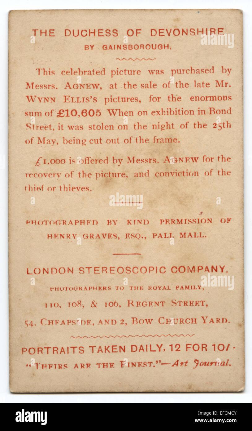 Ein Handrucken Getont Carte De Visite Kundigt Eine Belohnung Fur Das Gestohlene Gemalde Von Thomas Gainsborough Der Herzogin Devonshire 1876