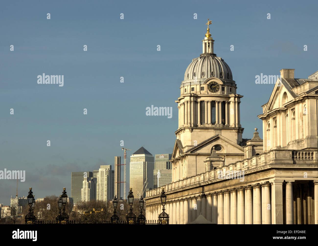 Greenwich Royal Hospital und Kanarischen einst Stockbild